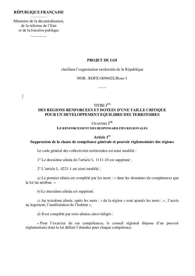 PROJET DE LOI clarifiant l'organisation territoriale de la République NOR : RDFX1409402L/Rose-1 ------ TITRE IER DES REGIO...