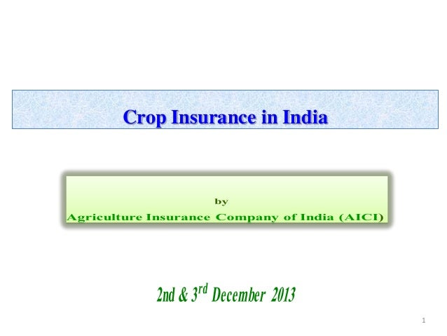 Crop Insurance in India  1