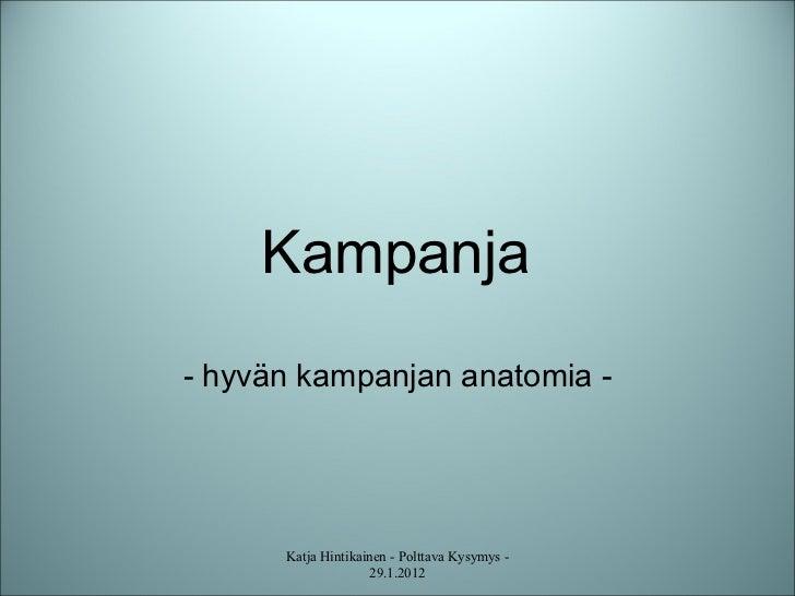 Kampanja  - hyvän kampanjan anatomia -  Katja Hintikainen - Polttava Kysymys - 29.1.2012