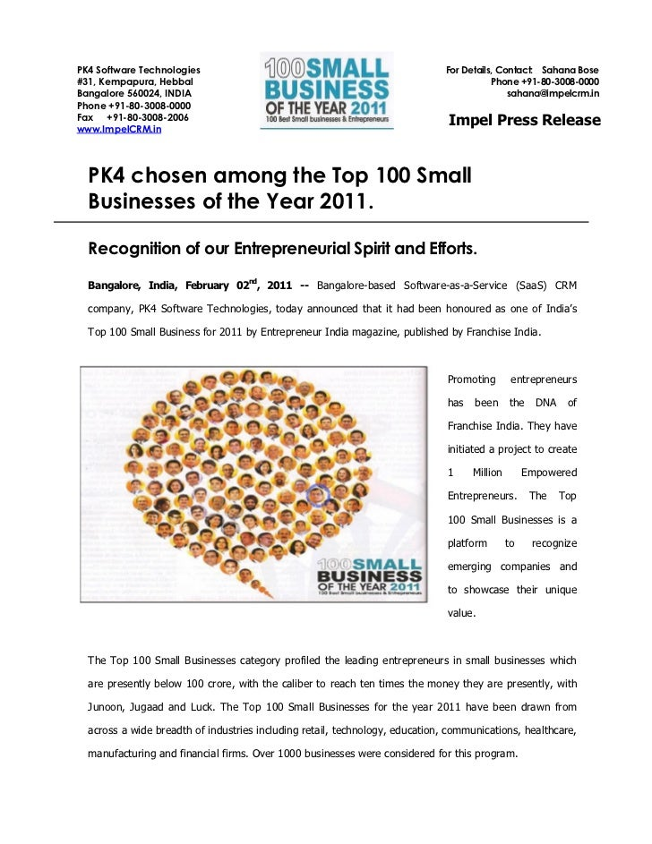 PK4 chosen among Top 100 Small Businesses of 2011