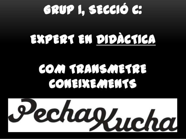 GRUP 1, SECCIÓ C: EXPERT EN DIDÀCTICA COM TRANSMETRE CONEIXEMENTS