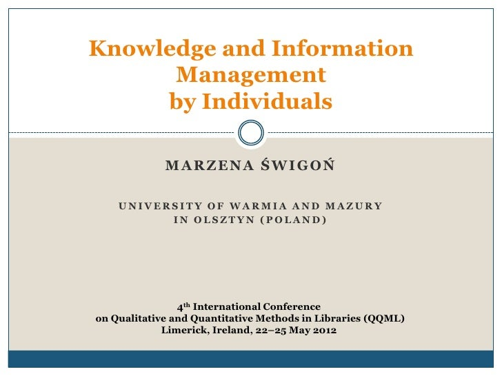 Knowledge and Information Management by Individuals