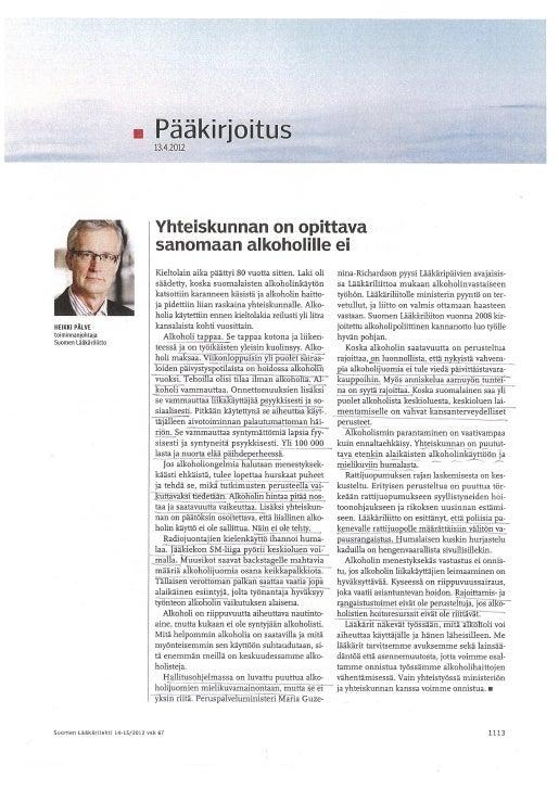 Pääkirjoitus lääkärilehti 14 15 2012