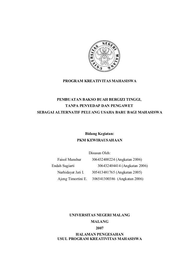 PROGRAM KREATIVITAS MAHASISWA         PEMBUATAN BAKSO BUAH BERGIZI TINGGI,              TANPA PENYEDAP DAN PENGAWETSEBAGAI...