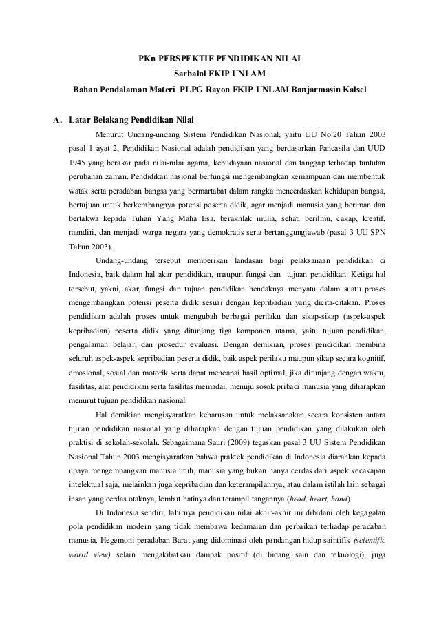 PKn PERSPEKTIF PENDIDIKAN NILAI                                   Sarbaini FKIP UNLAM    Bahan Pendalaman Materi PLPG Rayo...