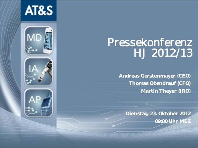 Pressekonferenz                                  HJ 2012/13                                       Andreas Gerstenmayer (CE...
