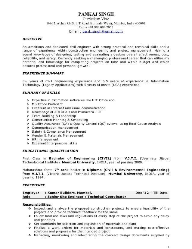 Pankaj Resume - Construction Project Manager