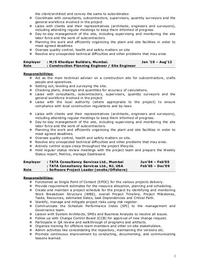 Construction Project Engineer Sample Resume