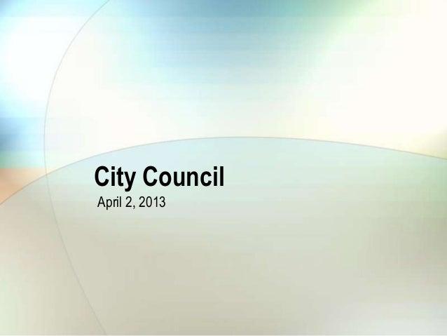 City Council April 2, 2013 Planning