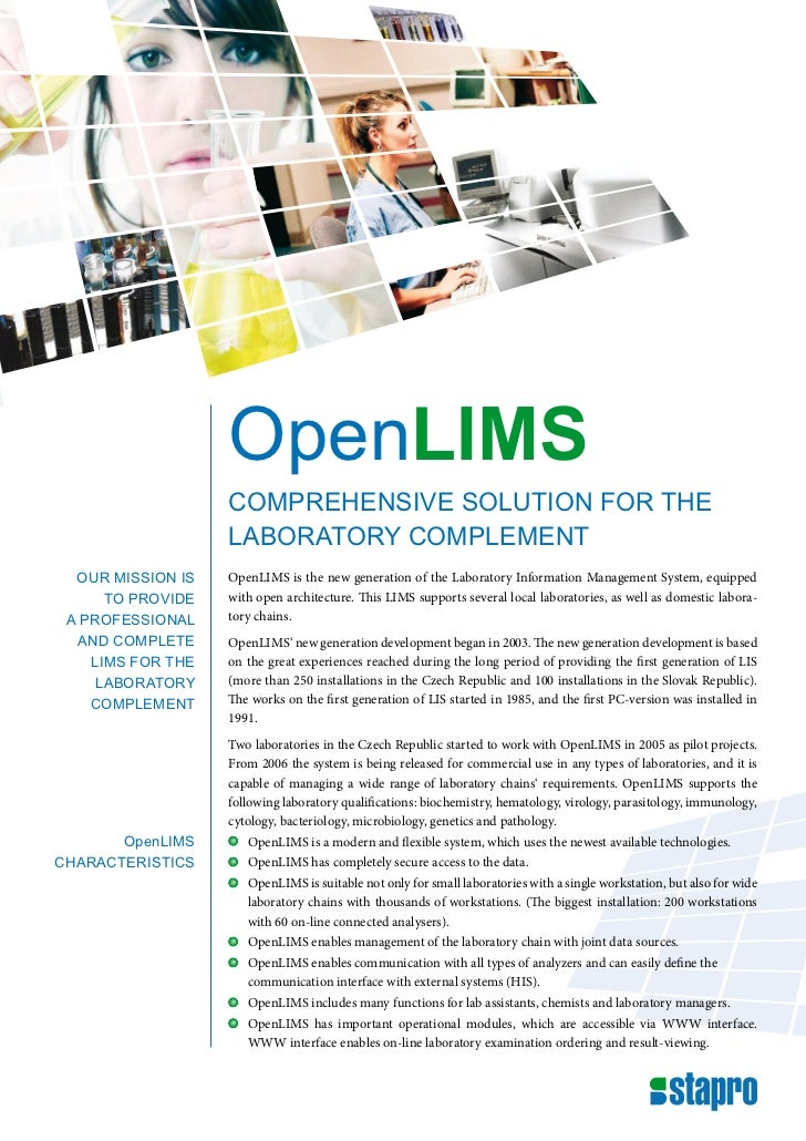 OpenLIMS                   comprehensive solution for the                   laboratory complement  our mission is   OpenLI...