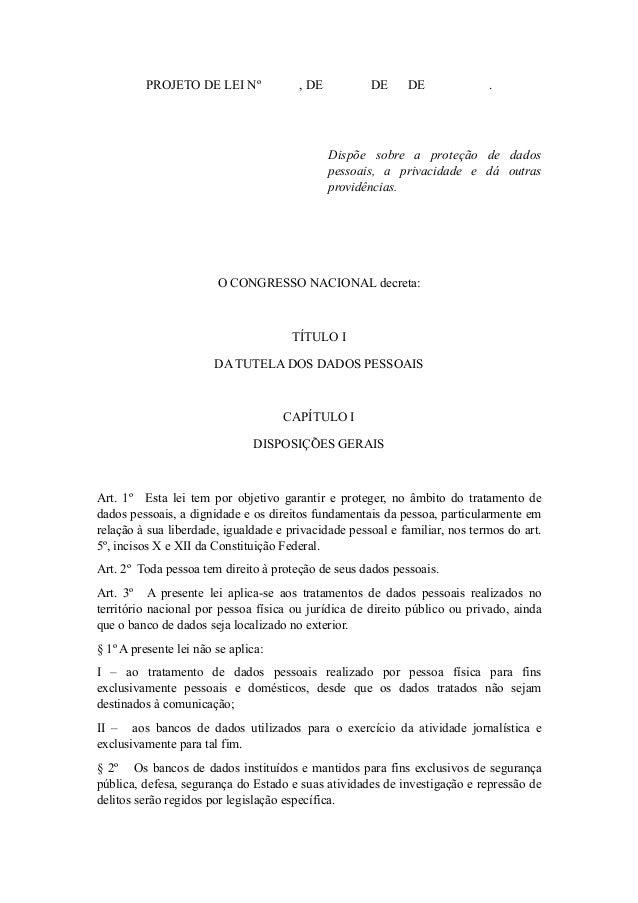 Projeto de Lei Proteção de Dados