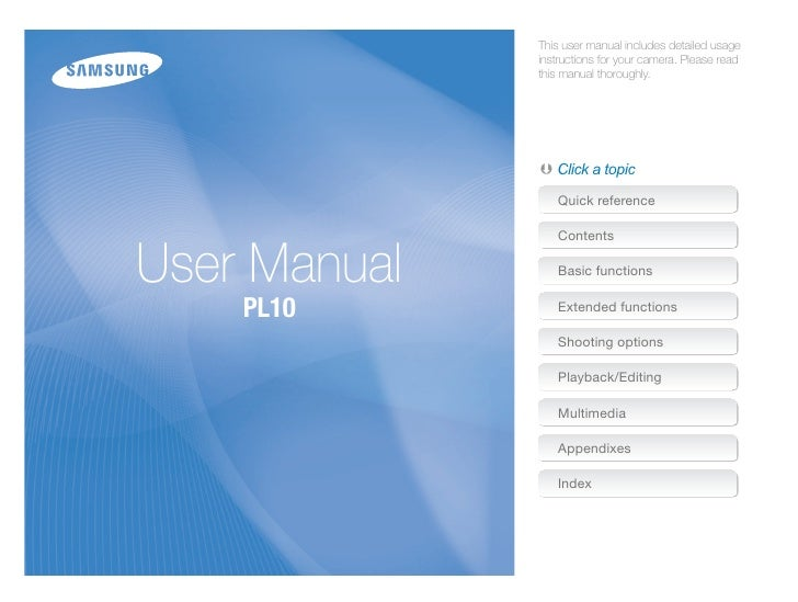 Samsung Camera PL10 User Manual