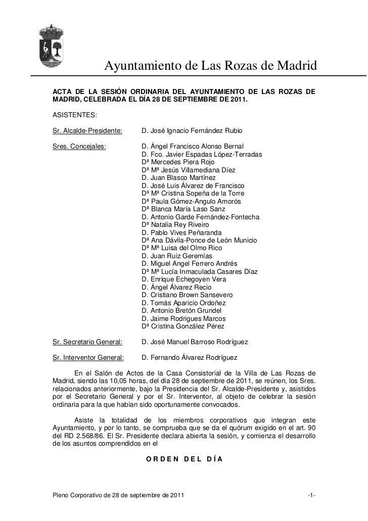Ayuntamiento de Las Rozas de MadridACTA DE LA SESIÓN ORDINARIA DEL AYUNTAMIENTO DE LAS ROZAS DEMADRID, CELEBRADA EL DÍA 28...