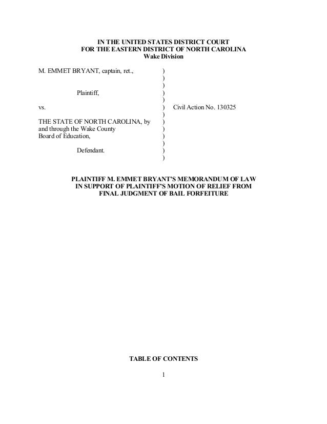 IN THE UNITED STATES DISTRICT COURT             FOR THE EASTERN DISTRICT OF NORTH CAROLINA                             Wak...