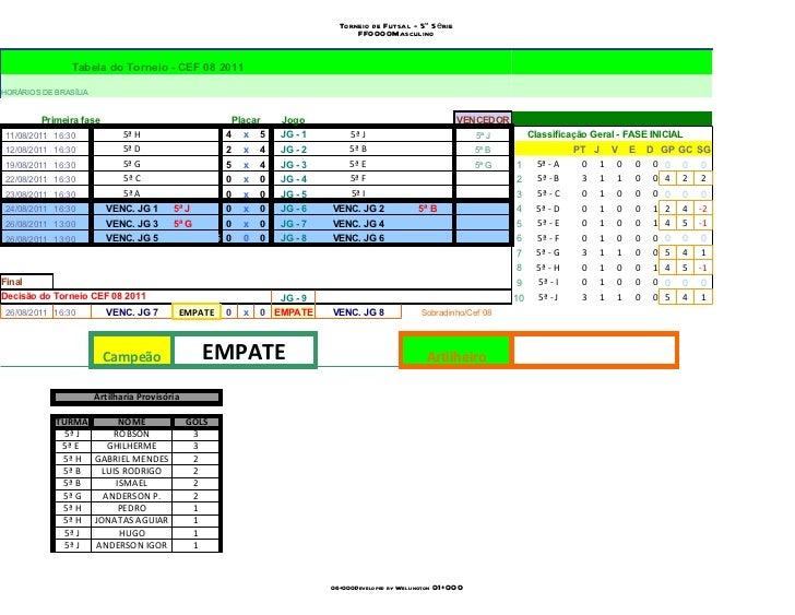 Torneio de Futsal - 5ª Série                                                                                      FF0000Ma...
