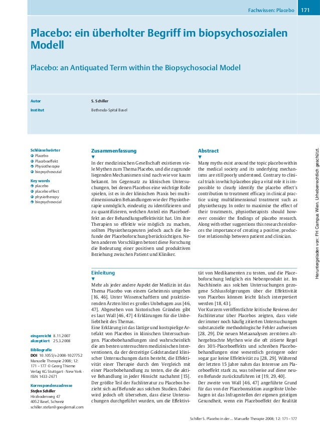 Placebo: ein überholter Begriff im biopsychosozialen Modell Placebo: an Antiquated Term within the Biopsychosocial Model A...