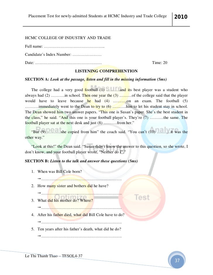 placement test essay questions Sample exam questions your essay should be well developed with many specific details and at least two pages tips for taking the placement test.