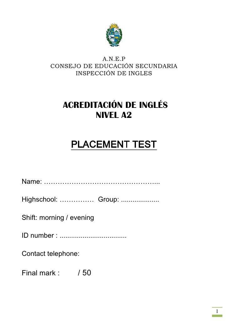 Placement Test Nivel A2  AcreditacióN To Print