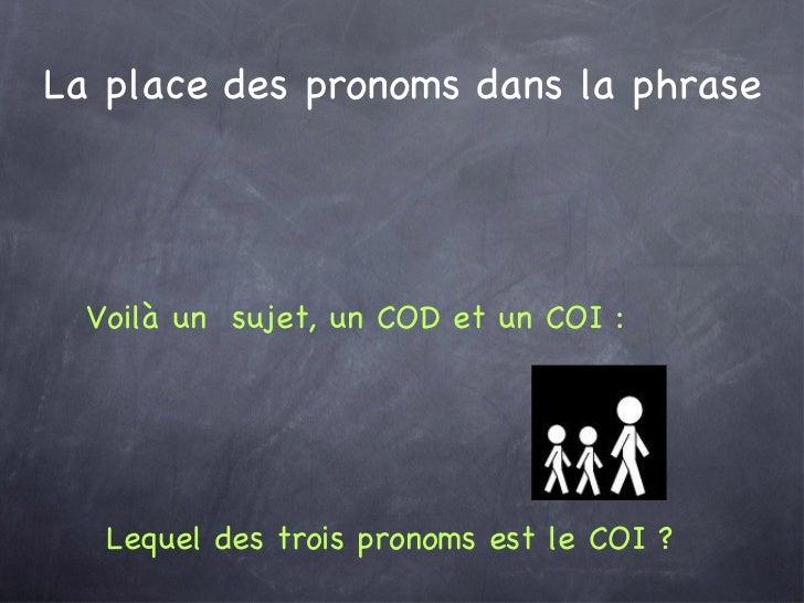 La place des pronoms dans la phrase Lequel des trois pronoms est le COI ?  Voilà un  sujet, un COD et un COI :