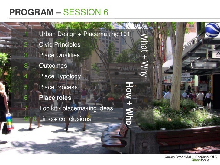 PROGRAM – SESSION 6  1    Urban Design + Placemaking 101                                                 What + Why  2    ...