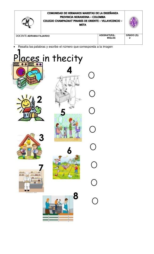 Resalta las palabras y escribe el número que corresponda a la imagen Places in thecity COMUNIDAD DE HERMANOS MARISTAS DE L...