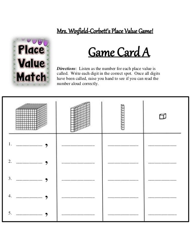 Mrs. Winfield-Corbett's Place Value Game! Game Card A Directions: Listen as the number for each place value is called. Wri...