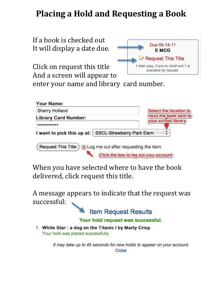 Placing a hold and requesting a book