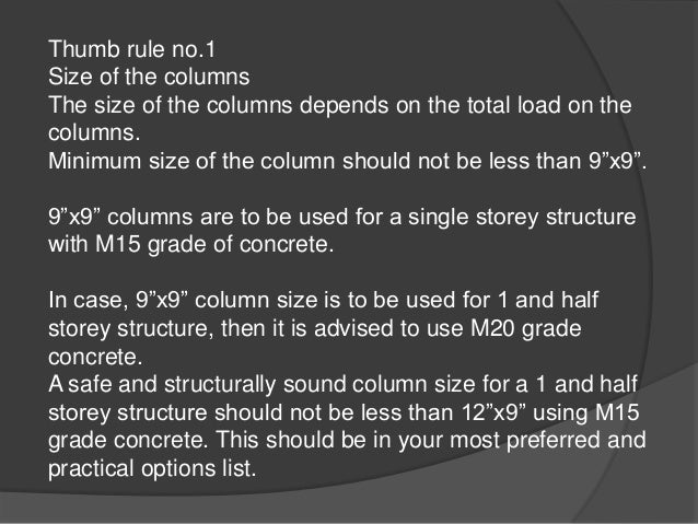 Building Columns Sizes Minimum Size of The Column