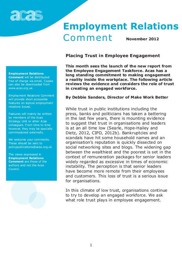1 Employment Relations Comment will be distributed free of charge via email. Copies can also be downloaded from www.acas.o...