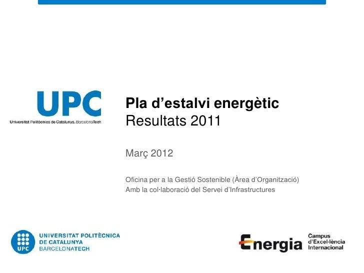 Pla d'estalvi energèticResultats 2011Març 2012Oficina per a la Gestió Sostenible (Àrea d'Organització)Amb la col·laboració...