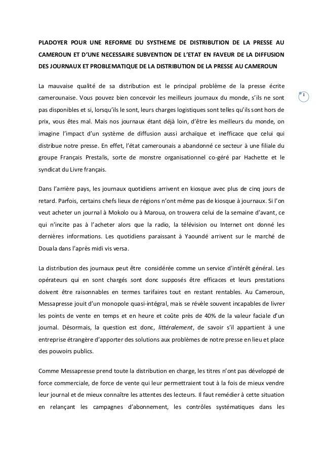 PLADOYER POUR UNE REFORME DU SYSTHEME DE DISTRIBUTION DE LA PRESSE AUCAMEROUN ET D'UNE NECESSAIRE SUBVENTION DE L'ETAT EN ...