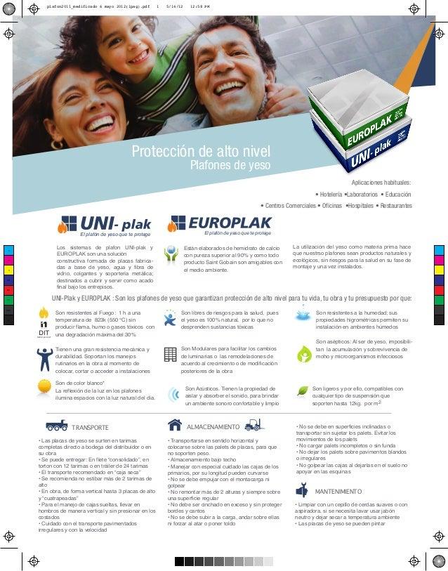 plafon2011_medificado 6 mayo 2012(1pag).pdf  1  5/14/12  12:58 PM  Protección de alto nivel Plafones de yeso  Aplicaciones...