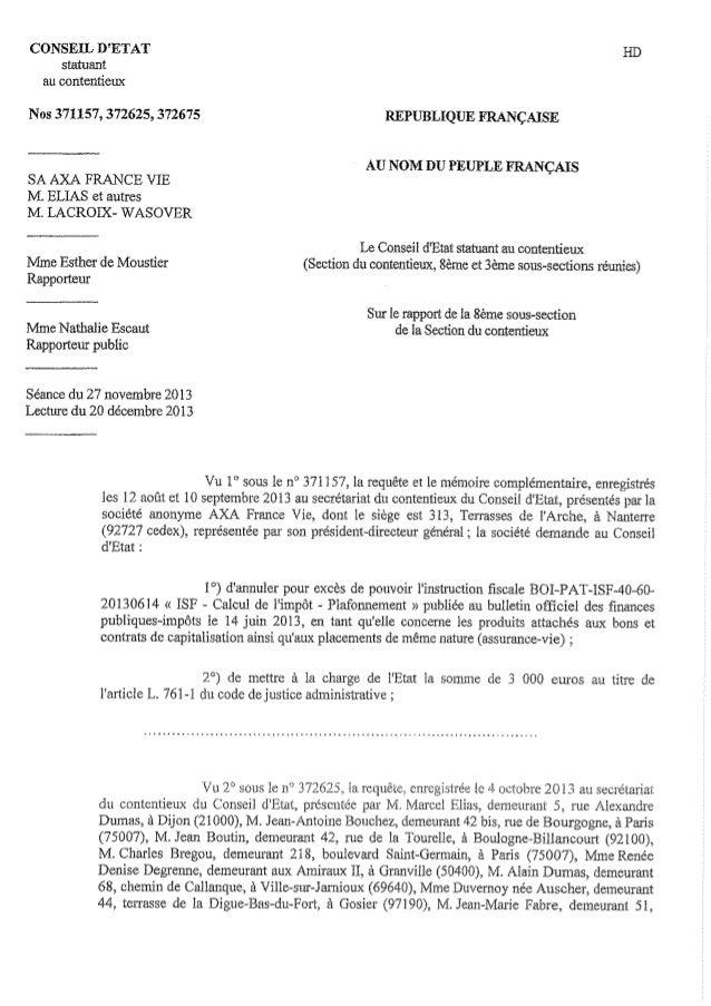 CE 20 Décembre 2013 annulation instruction du 14 juin2013