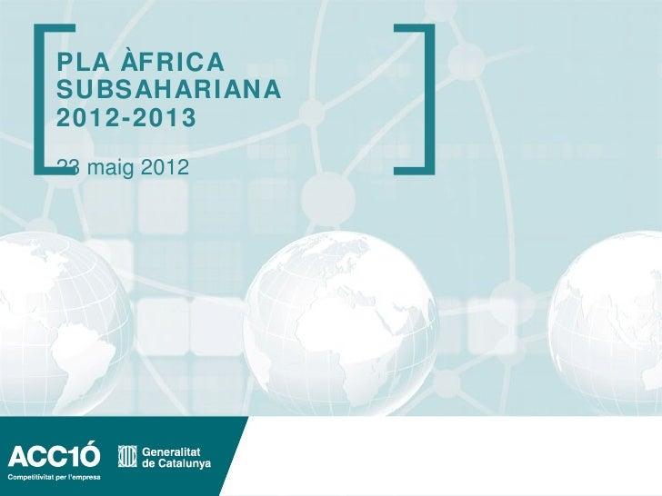 Pla d'ACC1Ó per l'Africa subsahariana 2012