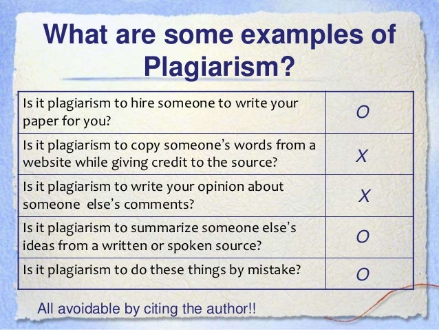 Define plagiarism and explain ways to avoid it