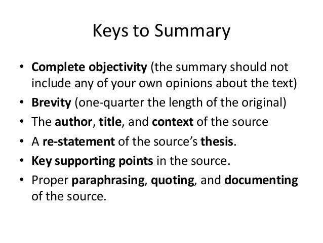 Summary paraphrase
