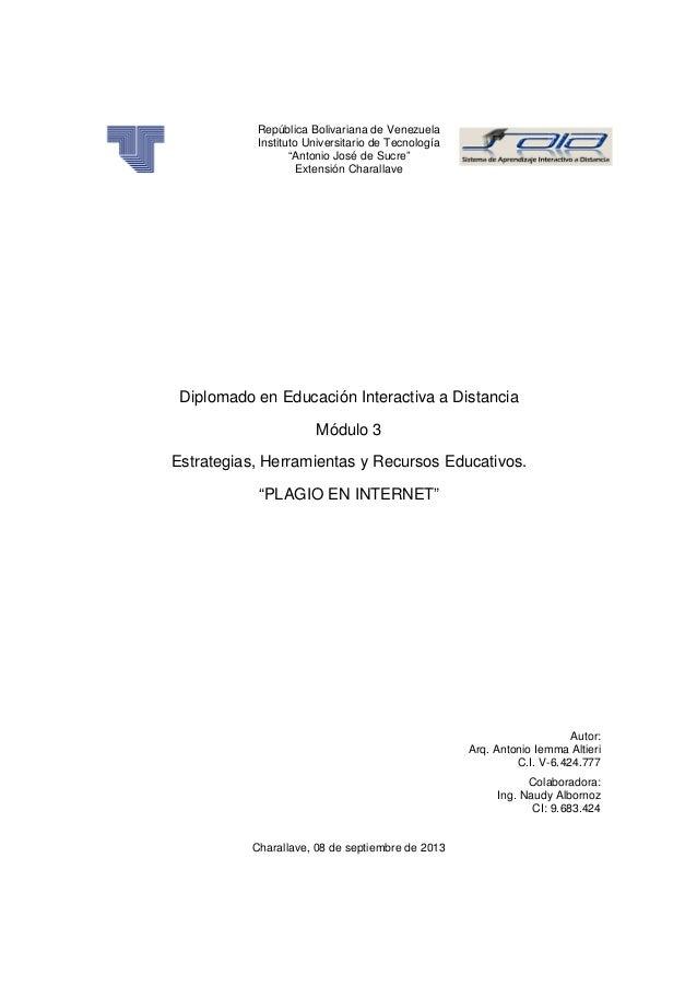 """República Bolivariana de Venezuela Instituto Universitario de Tecnología """"Antonio José de Sucre"""" Extensión Charallave Dipl..."""