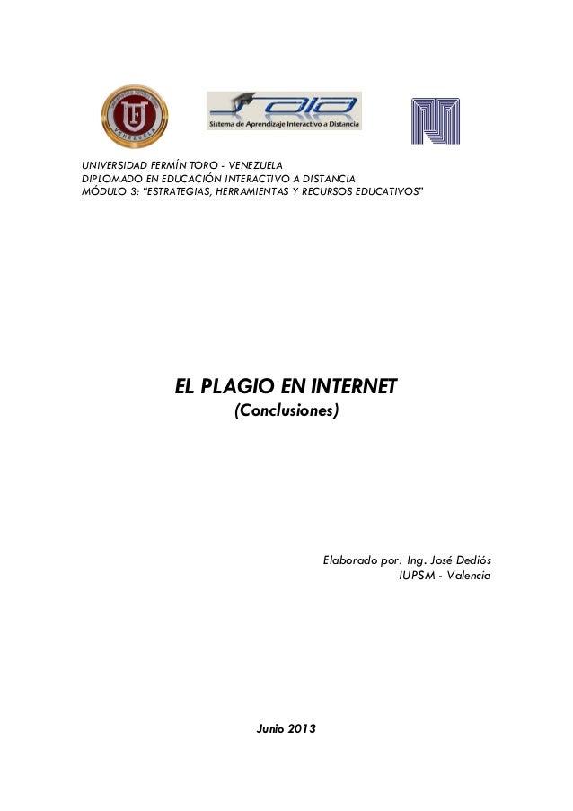 Plagio en internet.conclusiones.jose.dedios