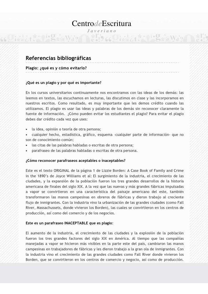 CentrodeEscritura                                    JaverianoReferencias bibliográficasPlagio: ¿qué es y cómo evitarlo?¿Q...