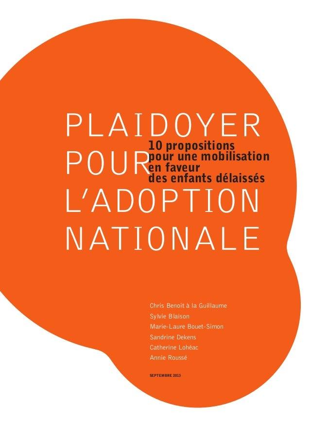 10 propositions pour une mobilisation en faveur des enfants délaissés  Chris Benoit à la Guillaume Sylvie Blaison Marie-La...