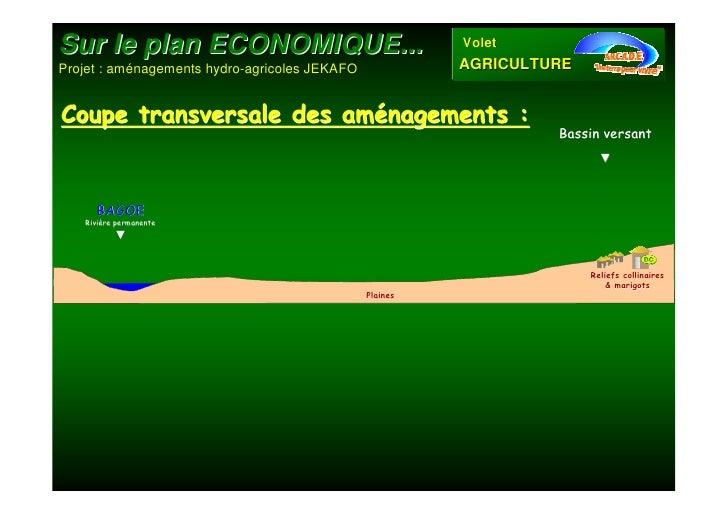 Sur le plan ECONOMIQUE...                                VoletProjet : aménagements hydro-agricoles JEKAFO             AGR...