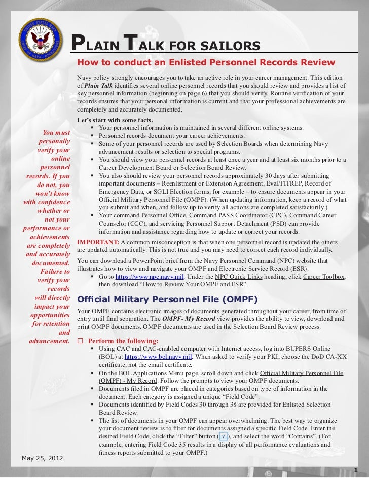 PLAIN TALK FOR SAILORS                    How to conduct an Enlisted Personnel Records Review                    Navy poli...