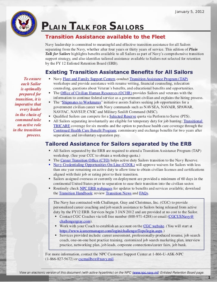 January 5, 2012                   PLAIN TALK FOR SAILORS                      Transition Assistance available to the Fleet...