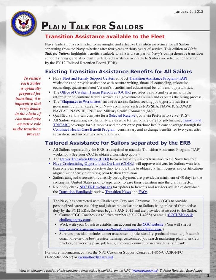 Plain Talk for Sailors:   Transition Assistance (5 jan 2011)