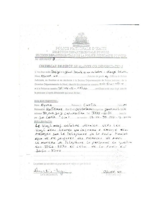 Copie plainte de Radio Kontak Inter, au service Police judiciaire du Nord.