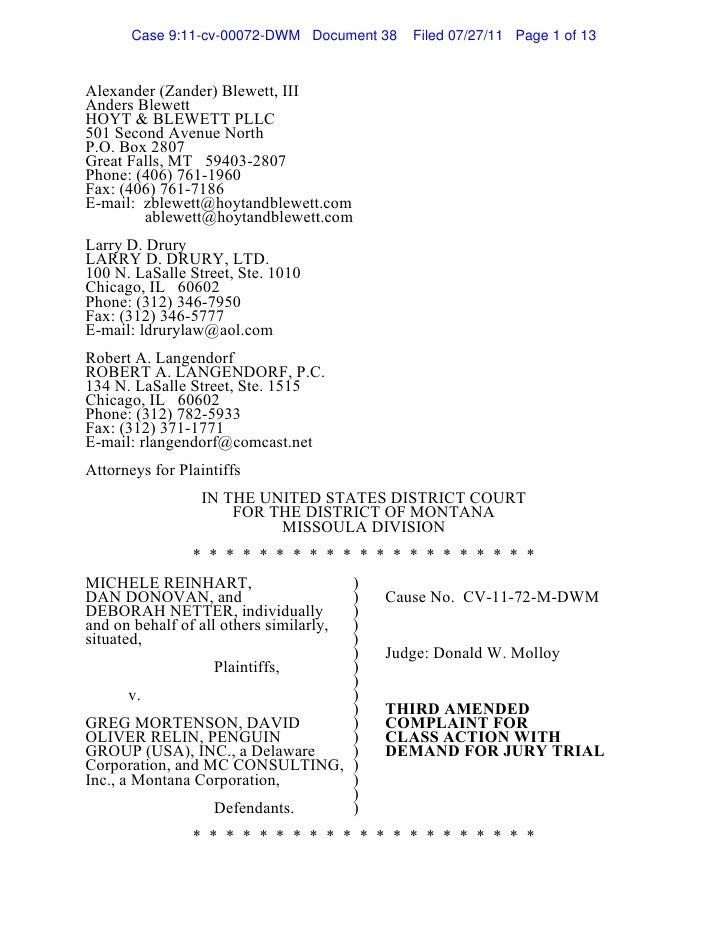 Plaintiff's third amended complaint doc 38