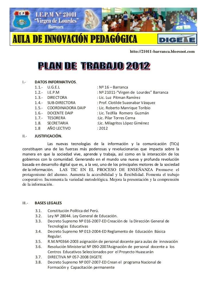 Plan anualde trabajo -aip -2012