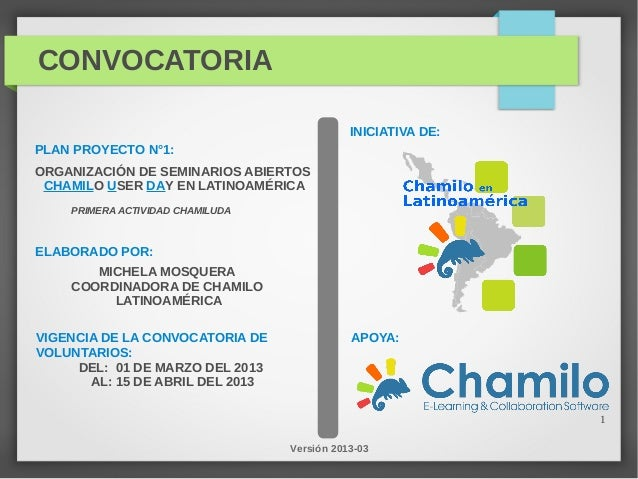 CONVOCATORIA                                             INICIATIVA DE:PLAN PROYECTO N°1:ORGANIZACIÓN DE SEMINARIOS ABIERT...