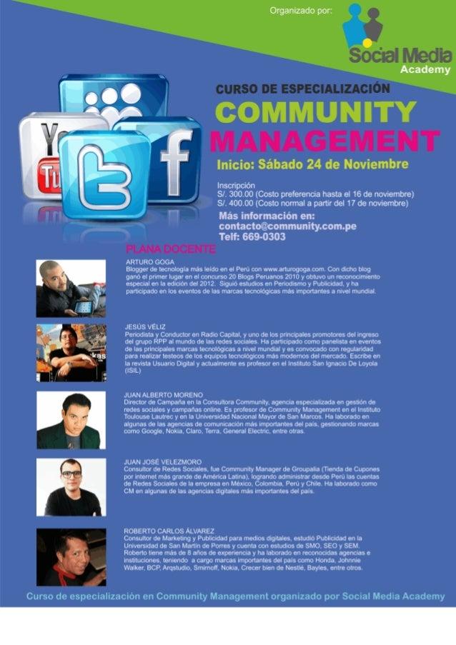 Curso de Community Management . Noviembre 2012