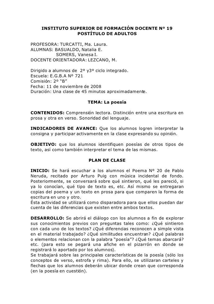 INSTITUTO SUPERIOR DE FORMACIÓN DOCENTE Nº 19                  POSTÍTULO DE ADULTOS  PROFESORA: TURCATTI, Ma. Laura. ALUMN...